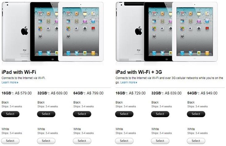 Australia iPad 2 prices