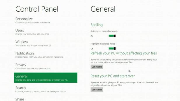 Windows 8 Refresh reset feature