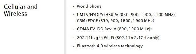 iPhone 4S Wireless Specs